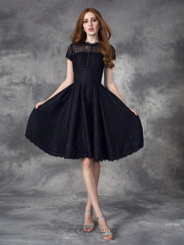 Chicregina A-line/Princess Jewel Short Sleeves Lace Knee-Length Dress with Beading
