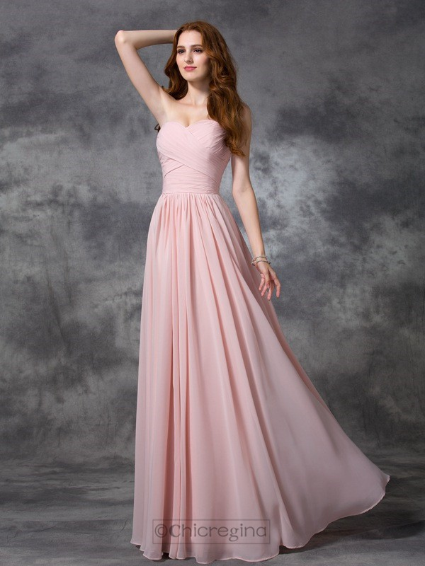 Chicregina A-line/Princess Sweetheart Floor-length Chiffon Bridesmaid Dress with Beading Ruched
