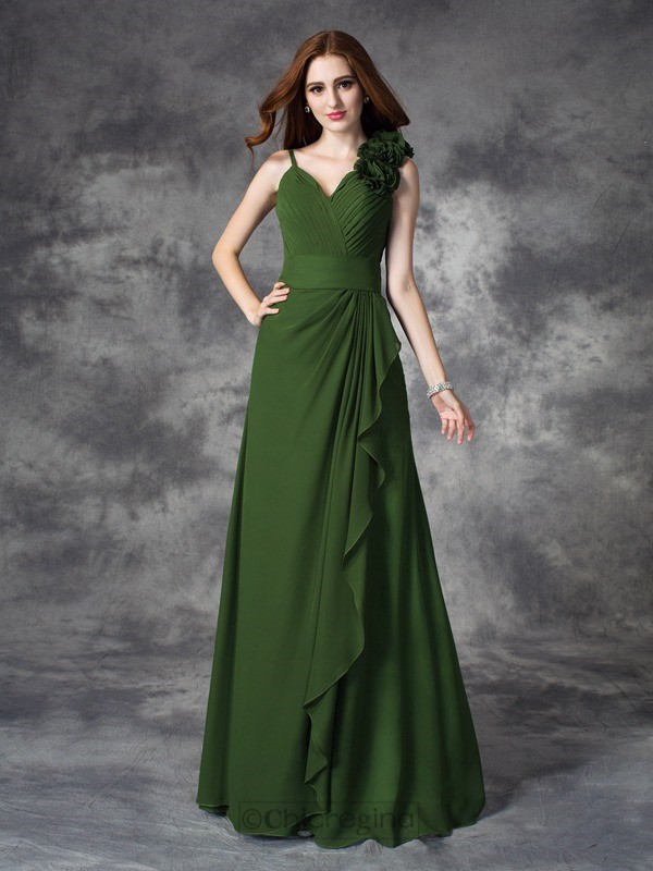 Chicregina A-line/Princess V-neck Floor-Length Chiffon Dress with Beading Ruched
