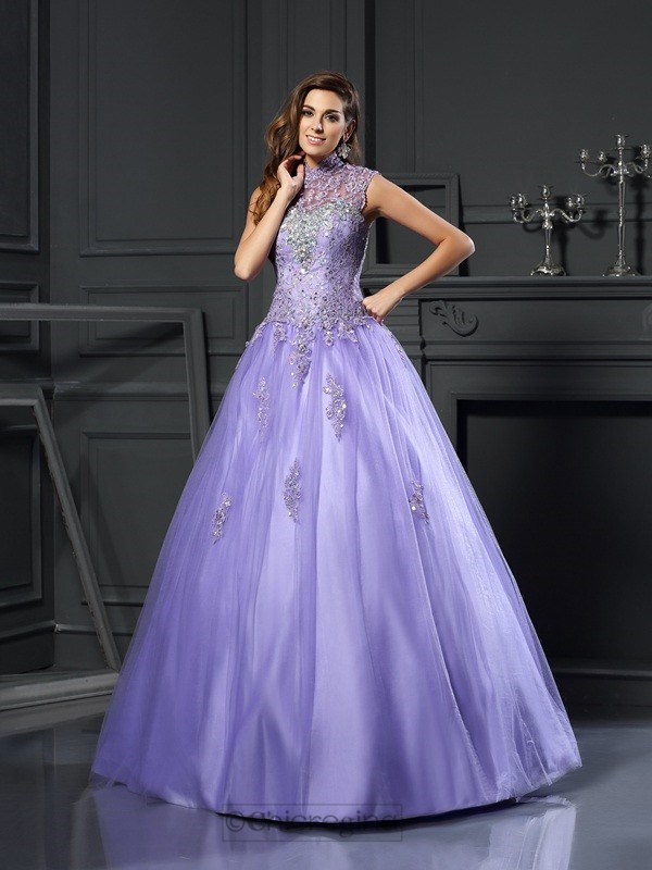 Chicregina Ball Gown High Neck Net Floor-Length Applique Dress with Beading