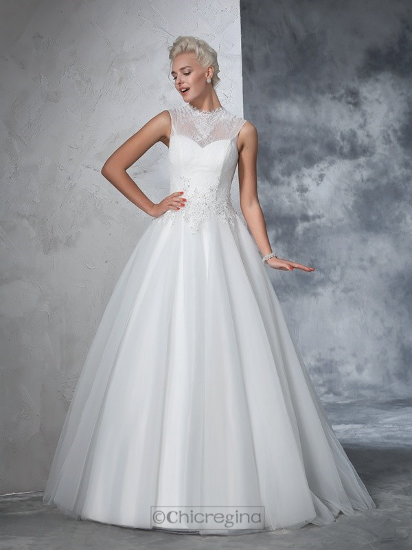 Chicregina Ball Gown High Neck Net Floor-Length Gown with Rhinestone Applique