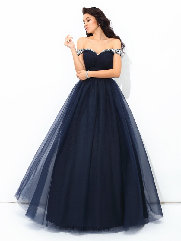 Chicregina Ball Gown Off-the-Shoulder Floor-Length Net Quinceanera Dress with Beading