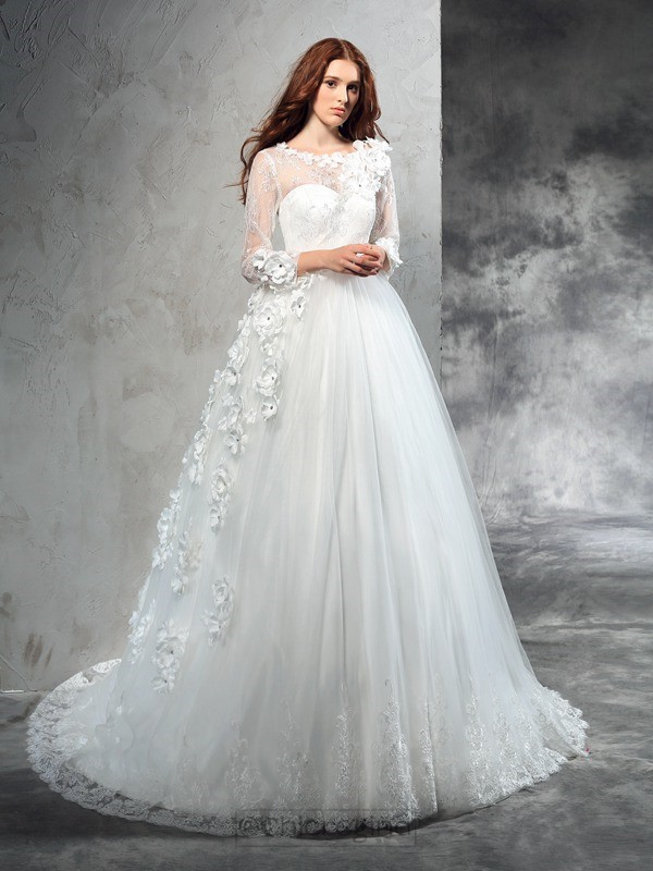 Chicregina Ball Gown Sheer Neck Long Sleeves Hand-Made Flower Court Train Net Wedding Dress with Beading
