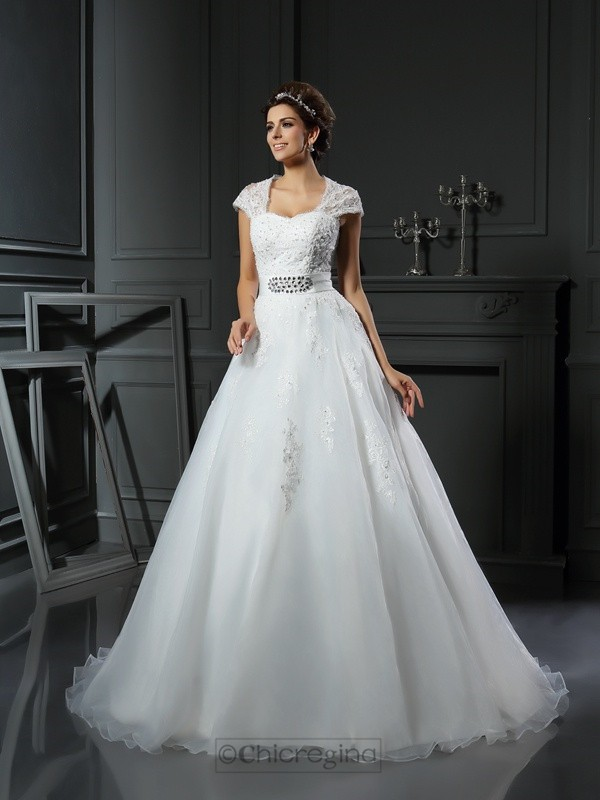 Chicregina Ball Gown Square Organza Chapel Train Applique Wedding Dress with Sash Beading