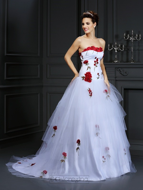 Chicregina Ball Gown Strapless Court Train Satin Wedding Dress with Embroidery