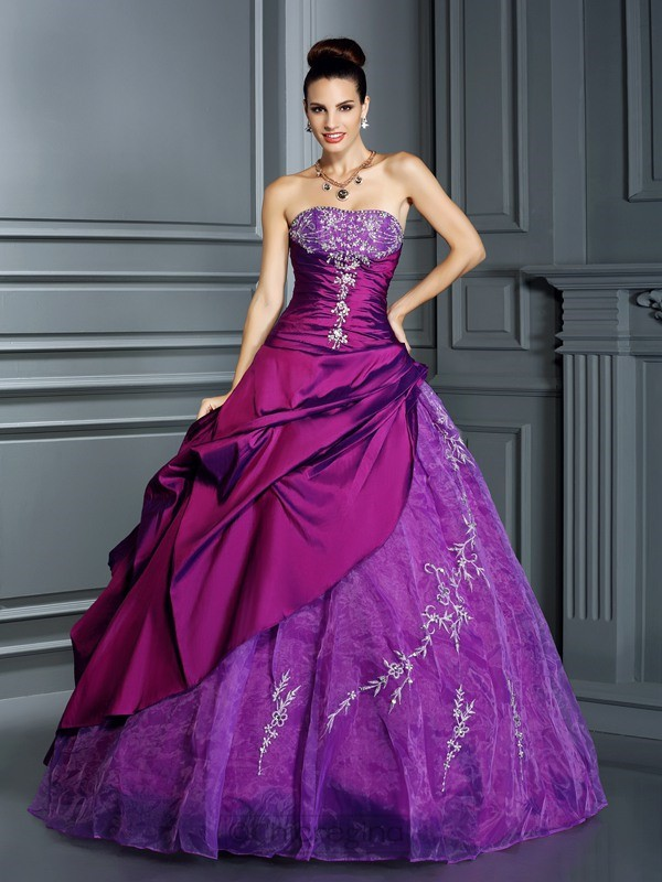 Chicregina Long Ball Gown Strapless Taffeta Quinceanera Dress with Pleats