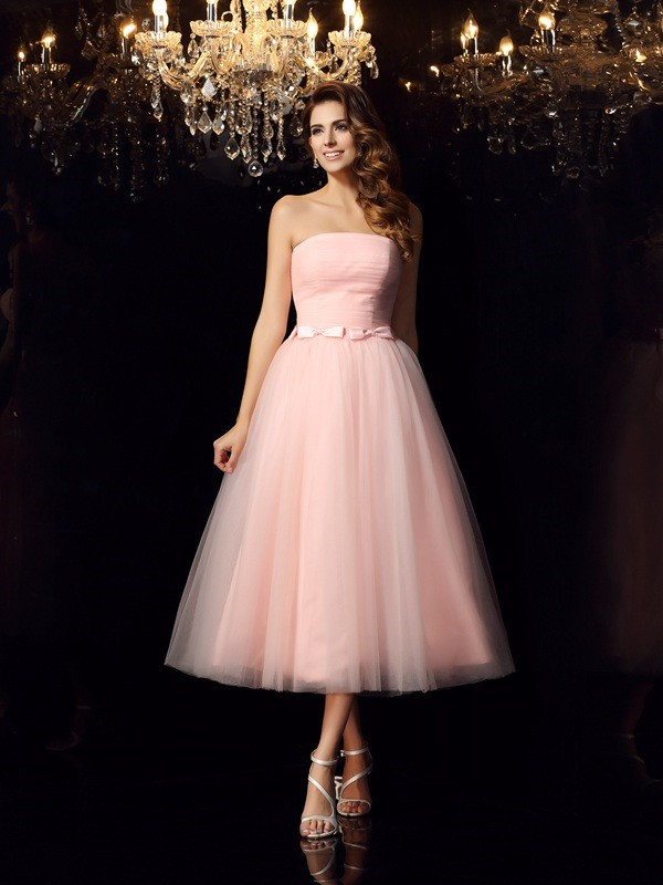 Chicregina Ball Gown Strapless Satin Tea-Length Sash/Ribbon/Belt Dress with Beading