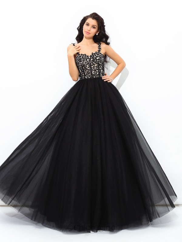 Chicregina Ball Gown Straps Floor-Length Net Quinceanera Dress with Sequin Applique