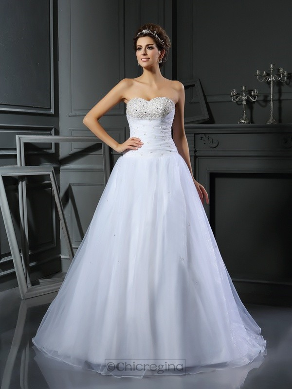 Chicregina Ball Gown Sweetheart Satin Court Train Wedding Dress with Beading