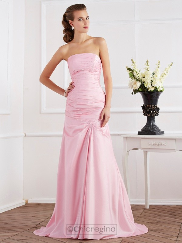 Chicregina Mermaid Strapless Taffeta Sweep Train Dress With Sequin