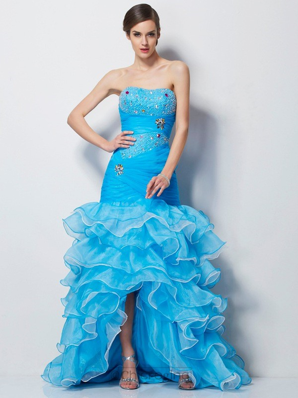 Chicregina Mermaid Sweetheart Tulle Asymmetrical Dress With Sash