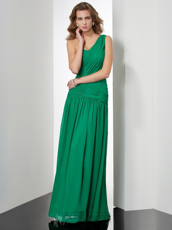 Chicregina Sexy A-Line One-Shoulder Long Chiffon Dress With Beading