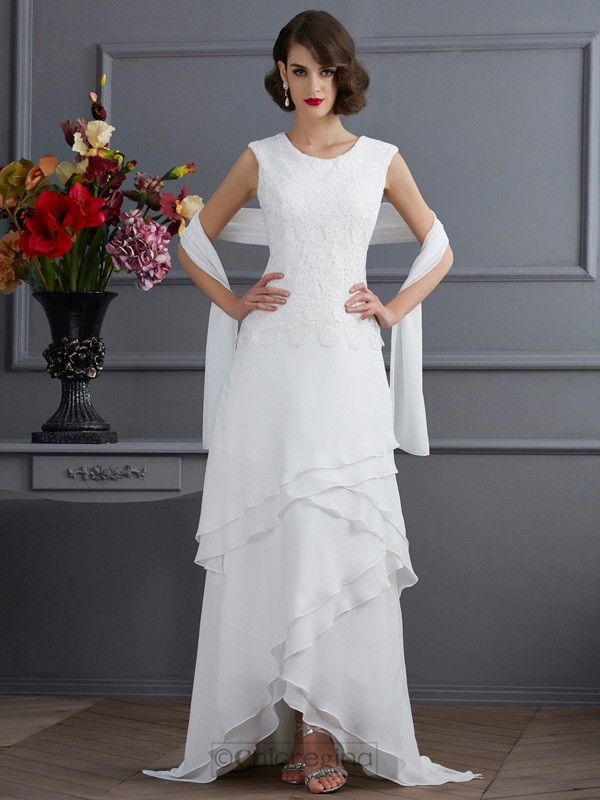 Chicregina Sheath Bateau Lace Asymmetrical Chiffon Dress With Beading