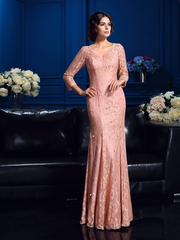 Chicregina Sheath/Column 3/4 Sleeves V-neck Floor-Length Lace Mother Of The Bride Dress with Sash