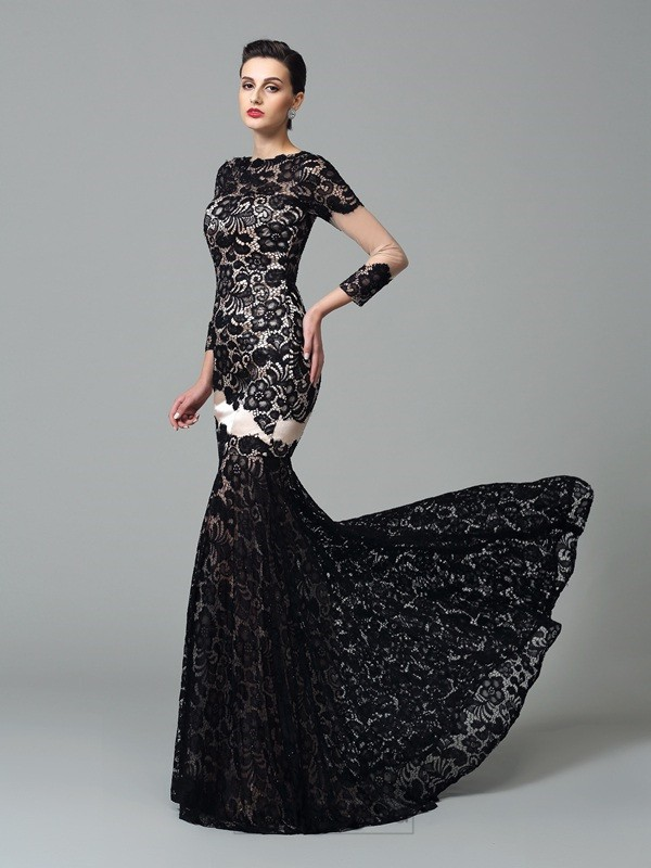 Chicregina Sheath/Column High Neck 3/4 Sleeves Lace Sweep/Brush Train Elastic Woven Satin Dress with Rhinestone