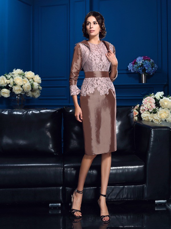Chicregina Sheath/Column Jewel Short Sleeves Knee-Length Taffeta Mother Of The Bride Dress with Beading