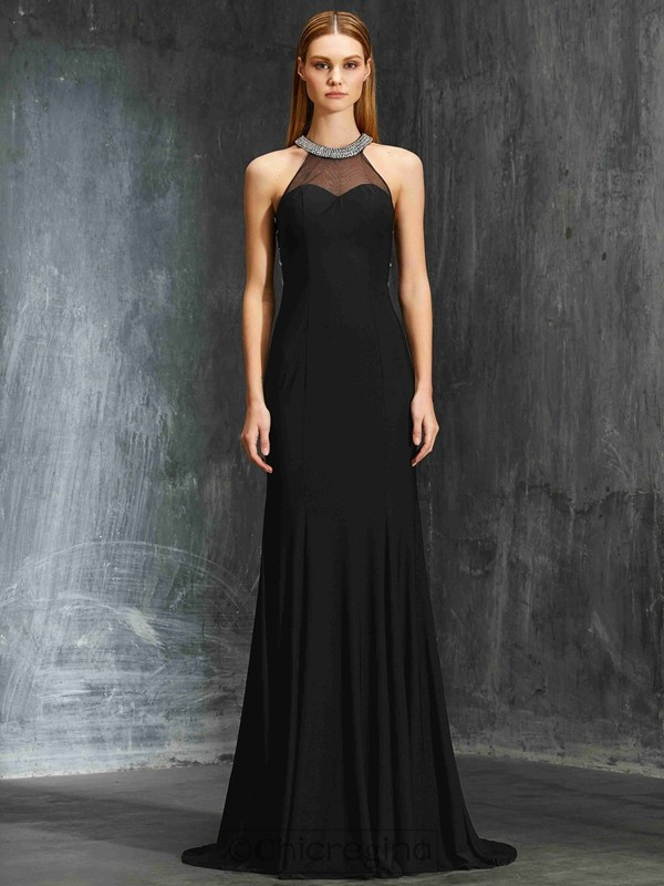Chicregina Sheath/Column Jewel Sleeveless Spandex Sweep Train Dress With Beading
