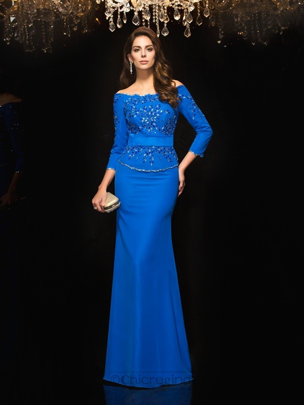Chicregina Sheath/Column Off-the-Shoulder 3/4 Sleeves Floor-Length Chiffon Dress with Beading