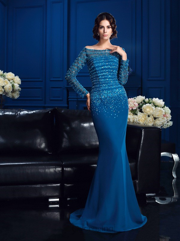 Chicregina Sheath/Column Off-the-Shoulder Long Sleeves Sweep/Brush Train Chiffon Mother Of The Bride Dress with Applique Beading