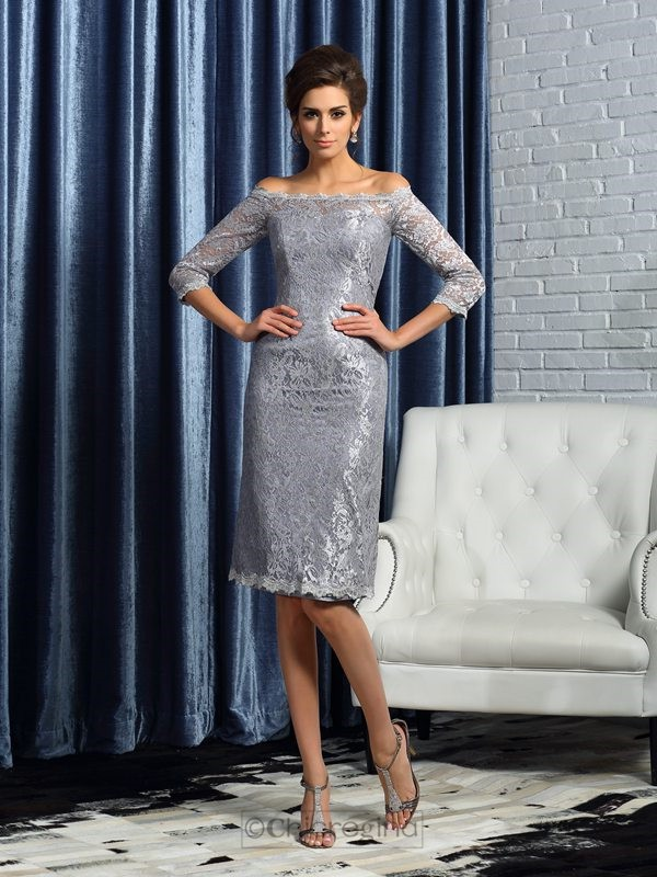 Chicregina Sheath/Column Off-the-Shoulder Satin 1/2 Sleeves Knee-Length Lace Mother Of The Bride Dress with Ruffles