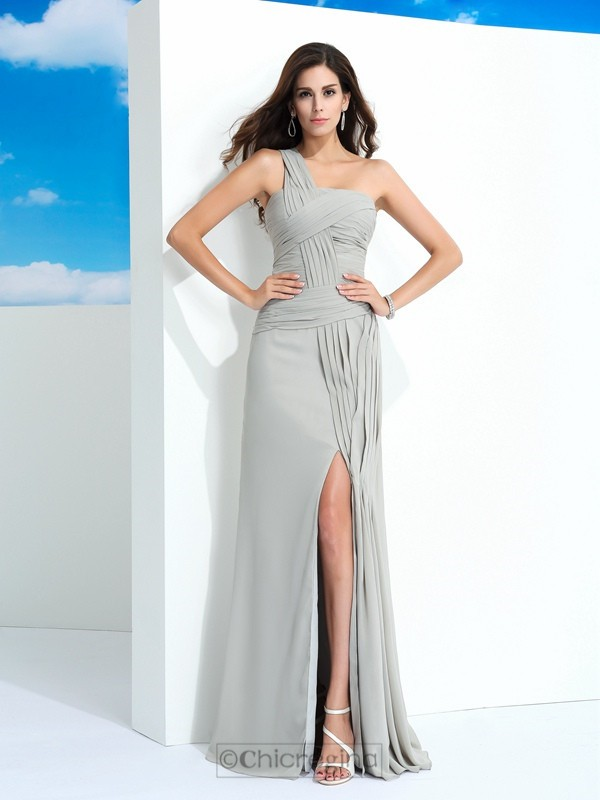 Chicregina Sheath/Column One-Shoulder Floor-Length Chiffon Dress with Rhinestone Pleats