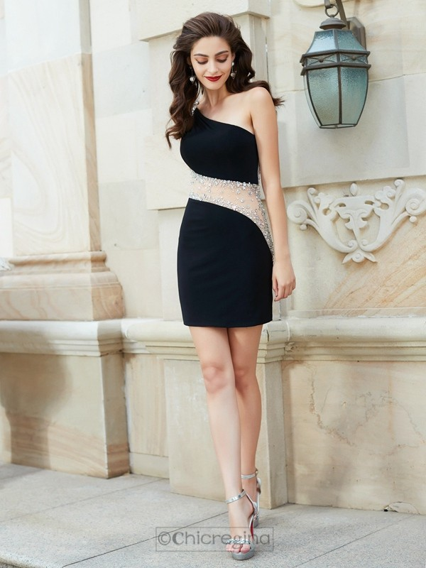 Chicregina Sheath/Column One-Shoulder Sleeveless Short Net Dress with Beading