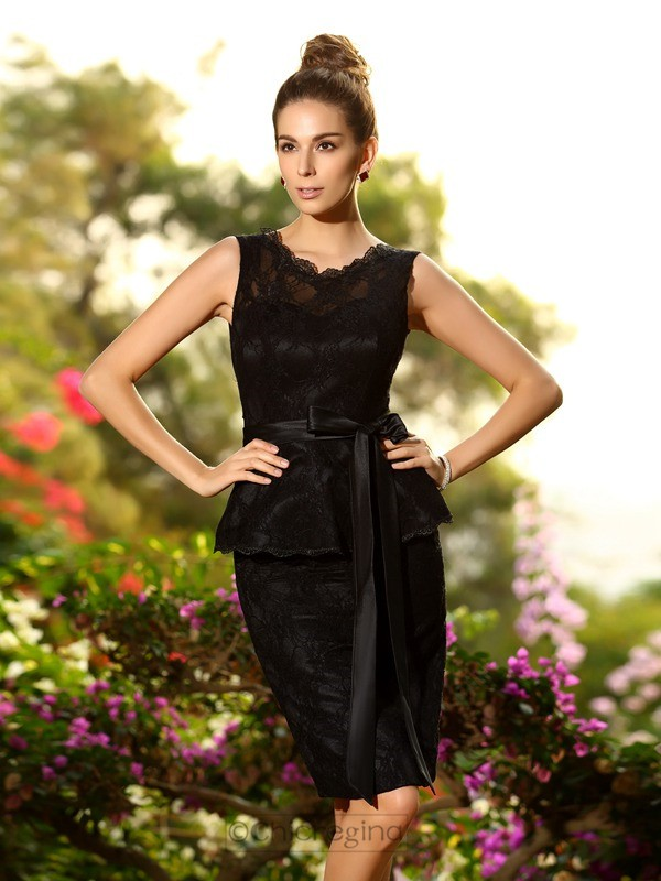 Chicregina Sheath/Column Scoop Lace Satin Knee-Length Bridesmaid Dress with Embroidery