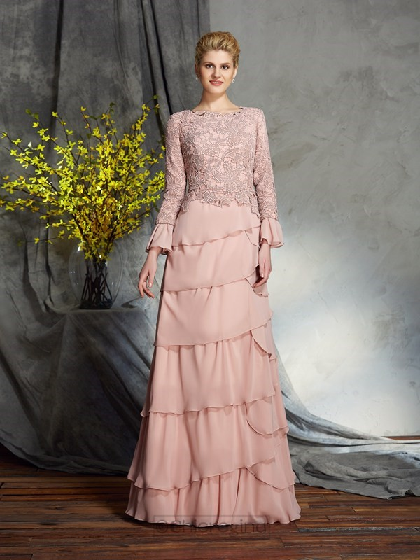 Chicregina Sheath/Column Scoop Long Sleeves Chiffon Floor-Length Mother of the Bride Dress with Beading Ruffles