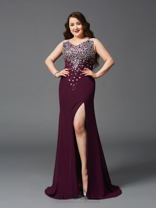 Chicregina Sheath/Column Straps Sweep/Brush Train Chiffon Plus Size Dress with Beading Rhinestone