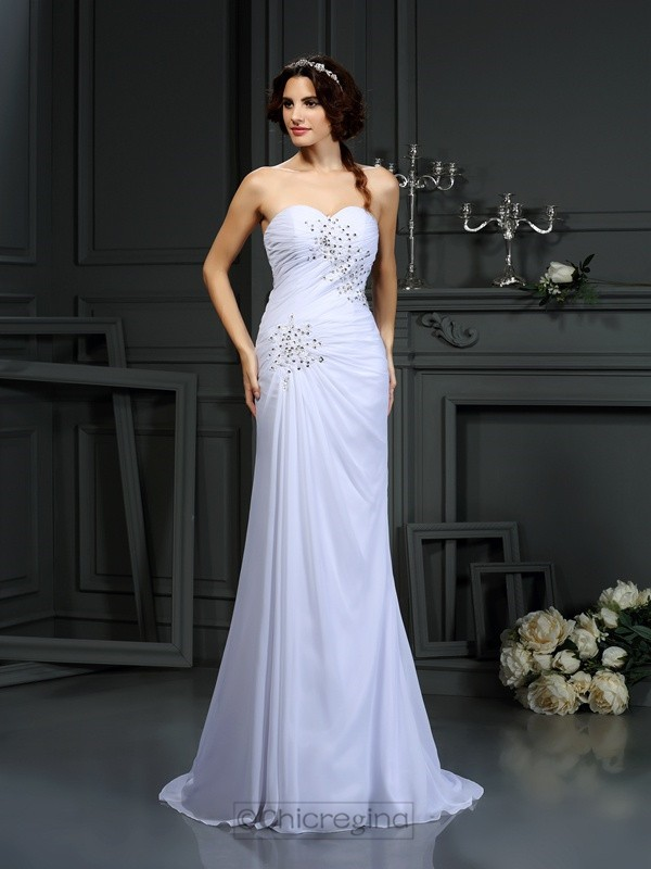 Chicregina Sheath/Column Sweetheart Chiffon Sweep/Brush Train Wedding Dress with Embroidery