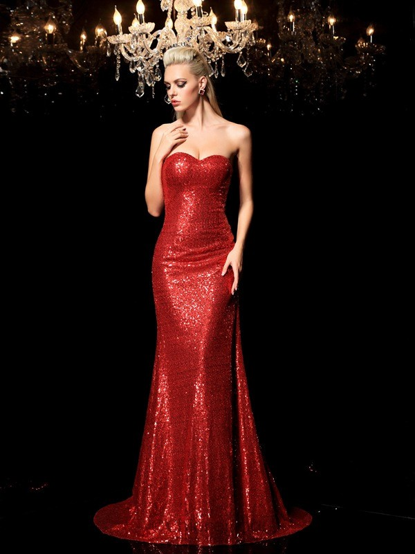 Chicregina Sheath/Column Sweetheart Sequin Sweep/Brush Train Sequined Evening Dress with Rhinestone