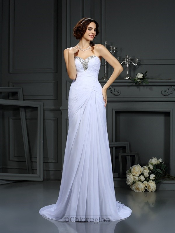 Chicregina Sheath/Column Sweetheart Sweep/Brush Train Chiffon Wedding Dress with Sash Beading