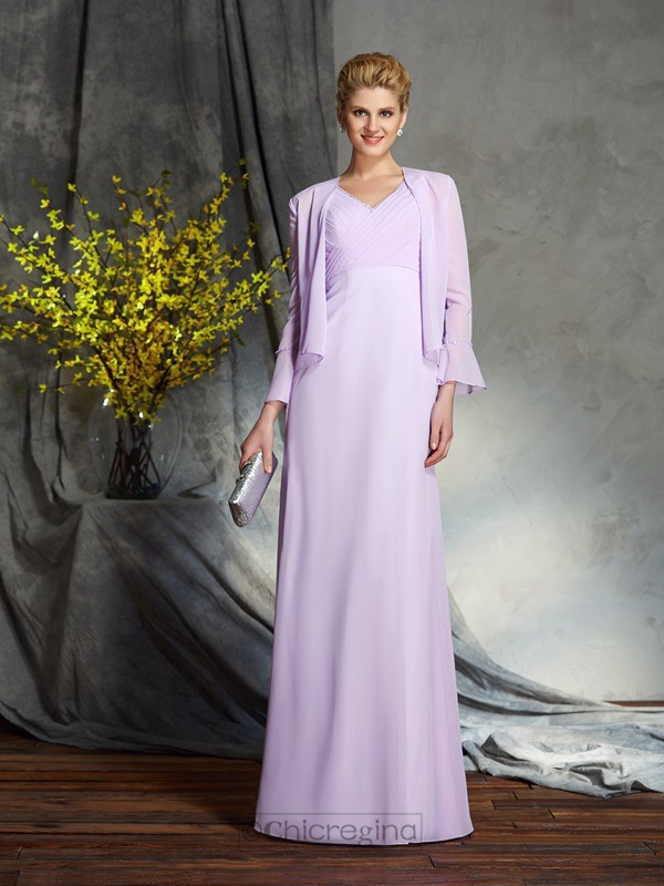 Chicregina Sheath/Column V-neck Chiffon Floor-Length Mother of the Bride Dress with Ruched