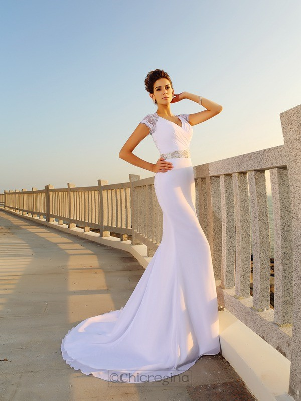 Chicregina Sheath/Column V-neck Court Train Chiffon Wedding Dress with Ruched Beading
