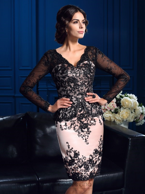 Chicregina Sheath/Column V-neck Long Sleeves Mini Lace Mother Of The Bride Dress with Ruched Applique