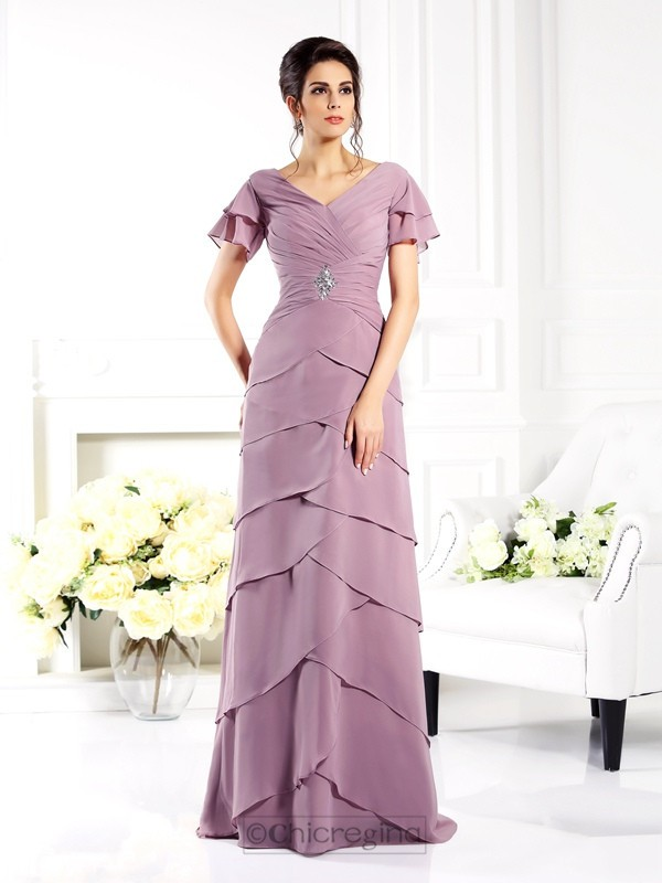 Chicregina Sheath/Column V-neck Short Sleeves Floor-Length Chiffon Mother Of The Bride Dress with Sash