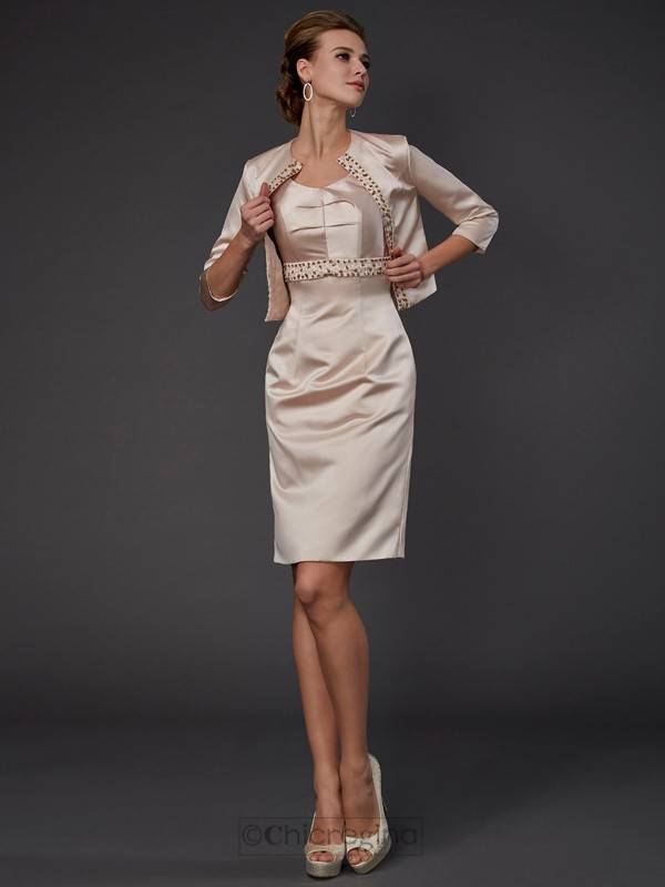 Chicregina Sheath Knee-Length Satin Mother Of The Bride Dress With Beading