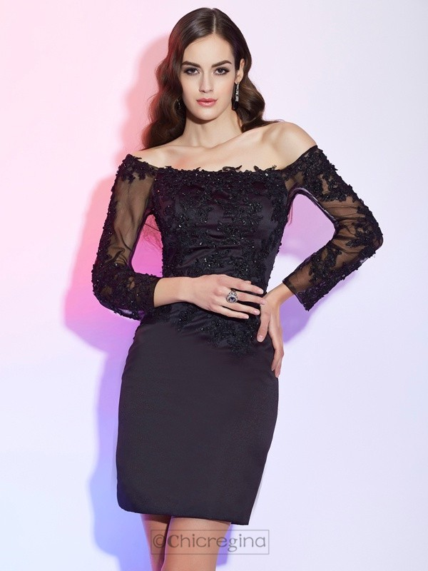 Chicregina Sheath Off-the-Shoulder Long Sleeves Satin Mini Mother Of The Bride Dress With Embroidery