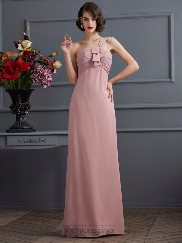Chicregina Sheath One-Shoulder Long Chiffon Bridesmaid Dress With Pleats