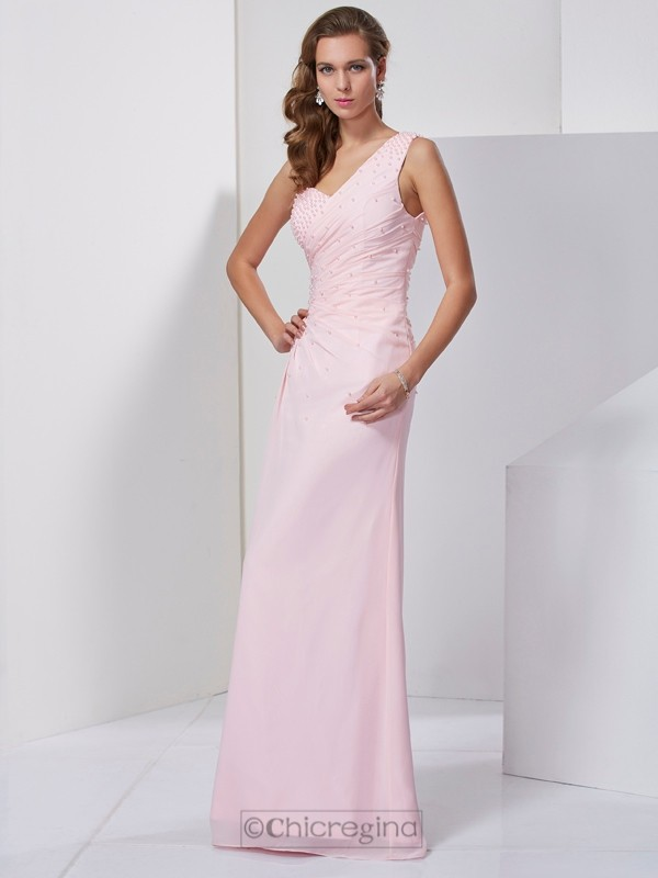 Chicregina Sheath One-Shoulder Long Chiffon Dress With Rhinestone