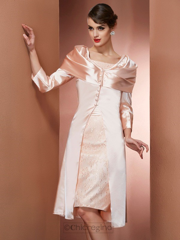 Chicregina Sheath Square Knee-Length Elastic Woven Satin Dress With Lace