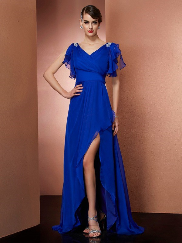 Chicregina Sheath V-neck Asymmetrical Chiffon Dress With Sequin