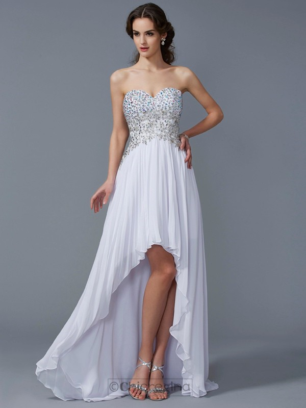 Chicregina Sleeveless A-Line Sweetheart Asymmetrical Chiffon Dress With Sash