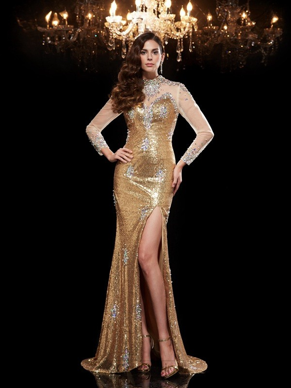 Chicregina Trumpet/Mermaid High Neck 3/4 Sleeves Sequined Sweep/Brush Train Dress with Sash