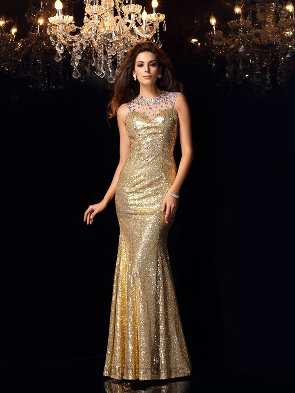 Chicregina Long Trumpet/Mermaid High Neck Sequin Dress with Beading