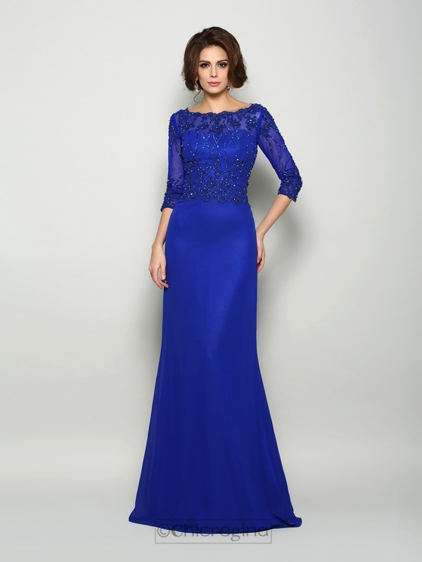Chicregina Trumpet/Mermaid Scoop 3/4 Sleeves Chiffon Beading Sweep/Brush Train Mother Of The Bride Dress with Embroidery