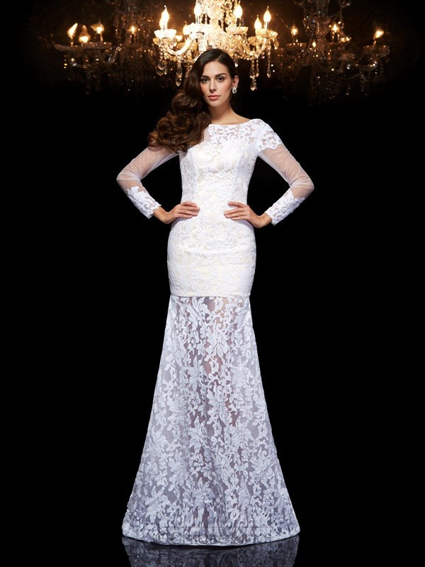 Chicregina Long Trumpet/Mermaid Scoop 3/4 Sleeves Lace Evening Dress with Beading
