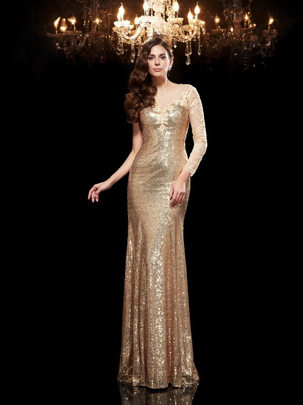 Chicregina Trumpet/Mermaid Scoop 3/4 Sleeves Lace Sequined Floor-Length Dress with Sequin