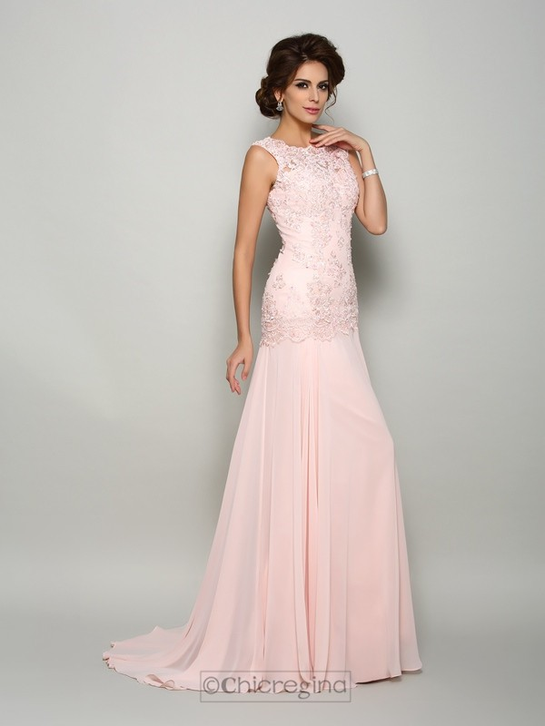 Trumpet/Mermaid Scoop Sweep/Brush Train Chiffon Beading Mother Of The Bride Dress with Rhinestone