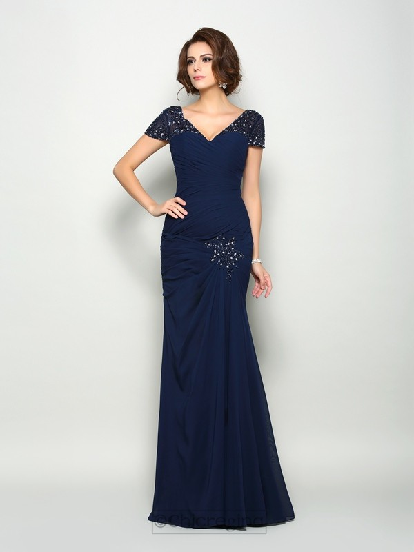 Chicregina Trumpet/Mermaid Short Sleeves V-neck Chiffon Floor-Length Mother Of The Bride Dress with Pleats Beading